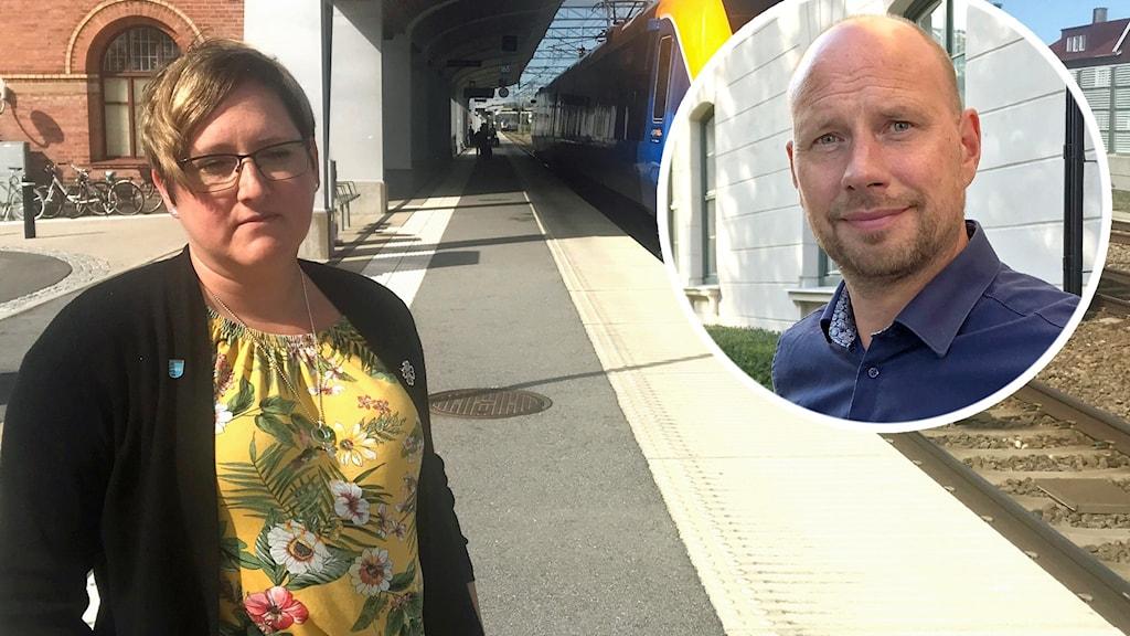 Madelaine Jakobsson (C), kommunalråd i Nordmaling och Hans Lindberg (S), kommunalråd i Umeå. Foto: Peter Öberg/Sveriges Radio