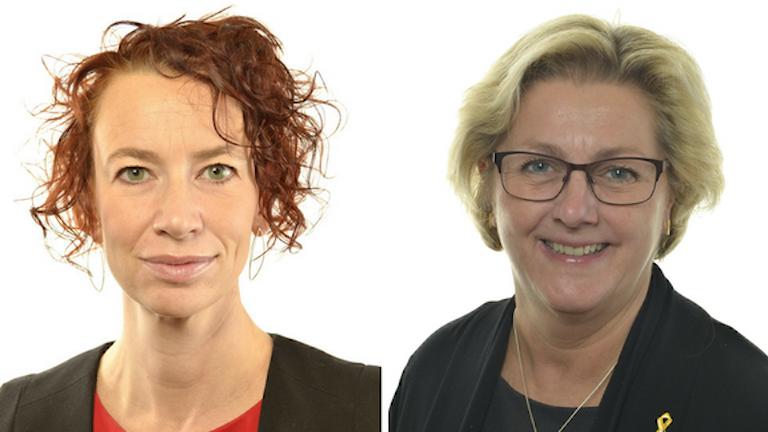 Portrtättbilder på Vänsterpartiets Christina Höj-Larsen och Moderaternas Lena Asplund.