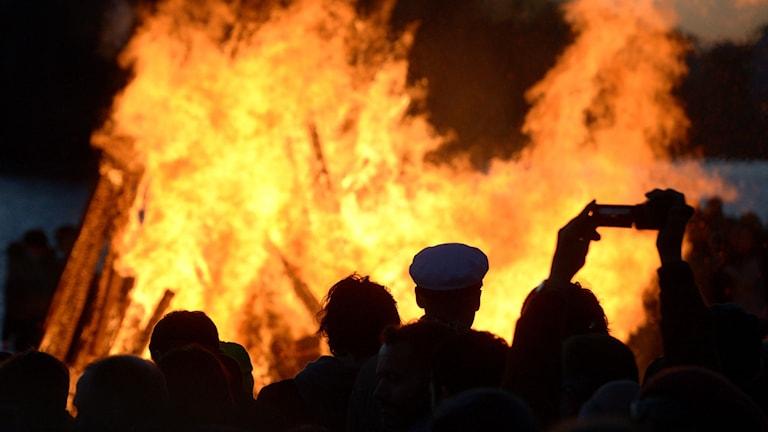 Majbrasa med höga lågor. Siluetter av unga människor som står runt elden.