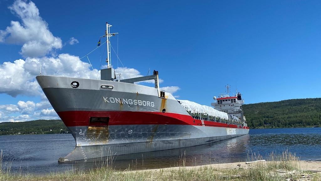 Nederländska fartyget Koningsborg har gått på grund och ligger med fören alldeles intill ångermanälvens strandkant vid Grundstastrand. Foto: Teodor Sörholm/Sveriges Radio