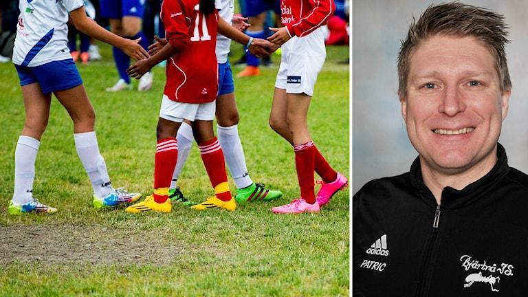 Bildkollage. Till vänster: Barn med olika nationaliteter hälsar på varndra efter match. Till höger: Porträtt på Patric Svanholm, fotbollsledare i Bjärtrå IS.