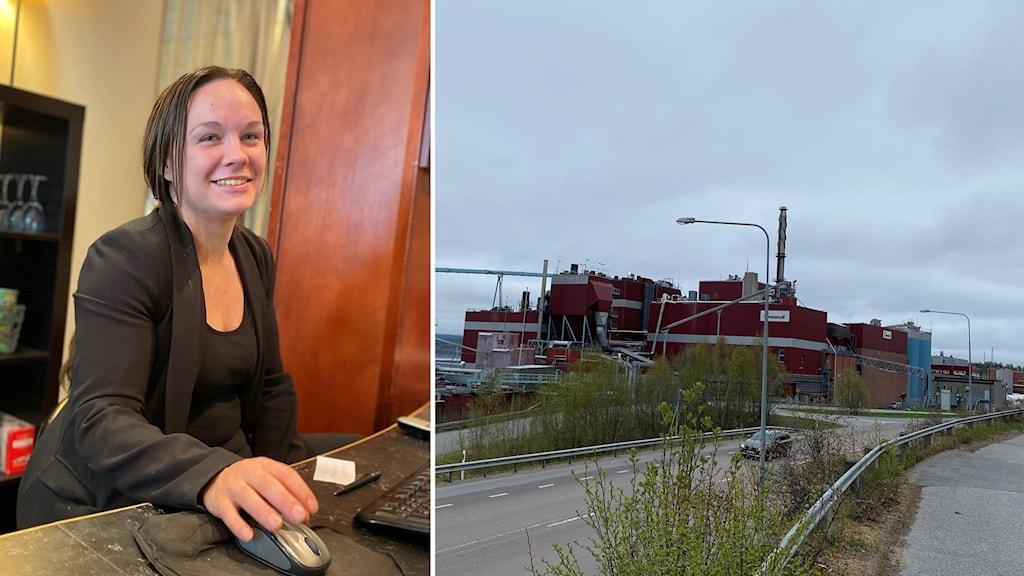 Kim Källström receptionschef hotell kramm, och en exteriör på fabriken i Väja.