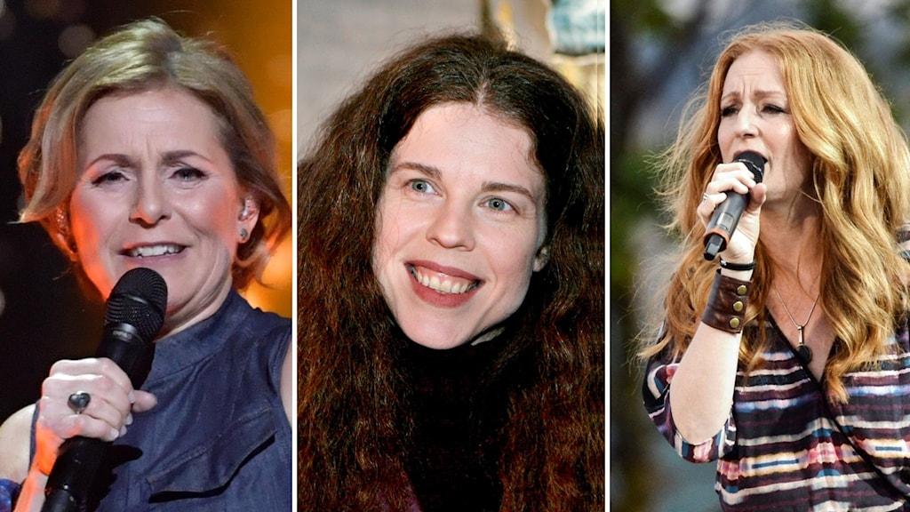 Tre kvinnor som är artister och programledare
