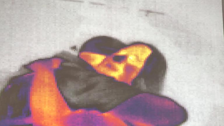 Kram framför en värmekamera