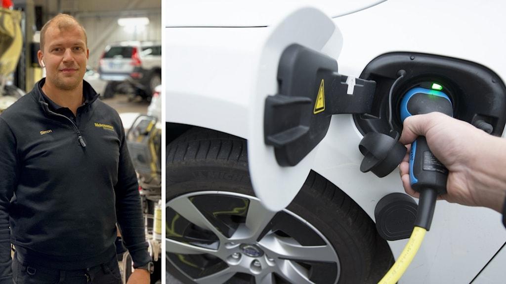 En man står i svart fleecetröja och på den andra bilden en närbild på en elbil som laddas.