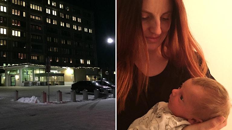 Bildkollage av Sollefteå sjukhus med upplysta fönster i kvällsljus och mamman Anna-Marica Ek med sin bebis. Foto: Sveriges Radio/Privat