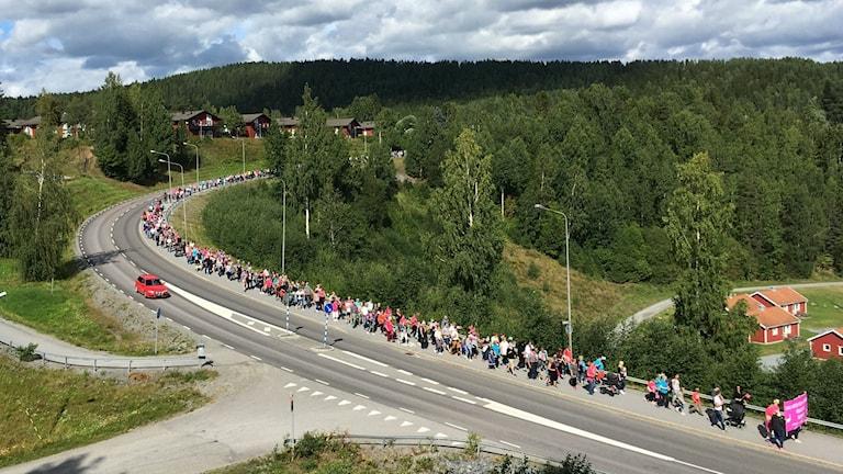 Här går BB-Marschen i Sollefteå genom terrängschaktet