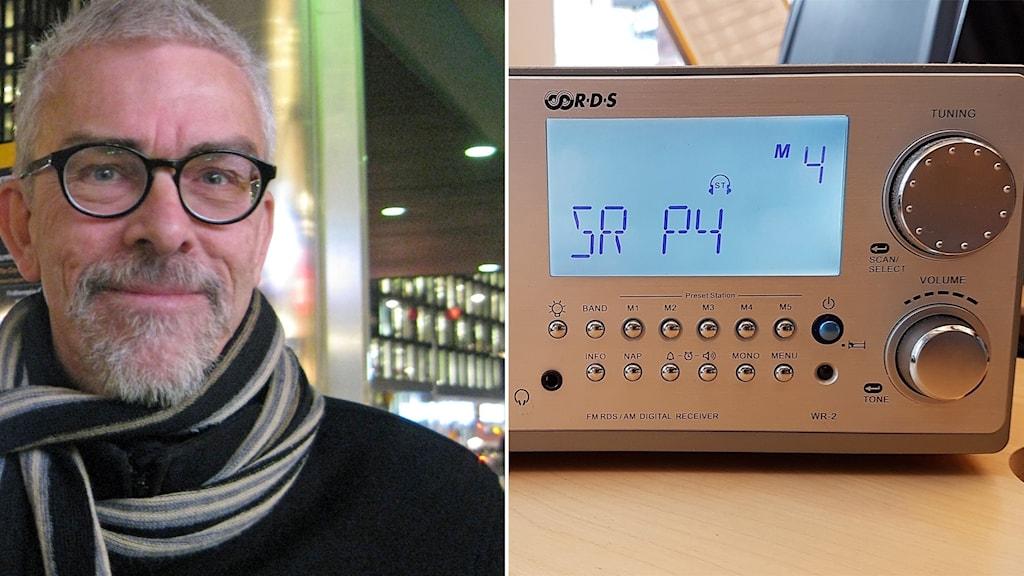 Lars Nord och en radioapparat.