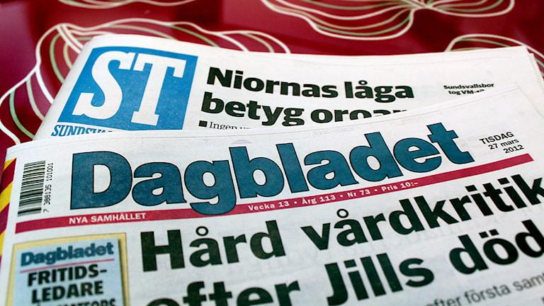 Tidningarna Dagbladet och Sundsvalls Tidning. Foto: Sofia Forell