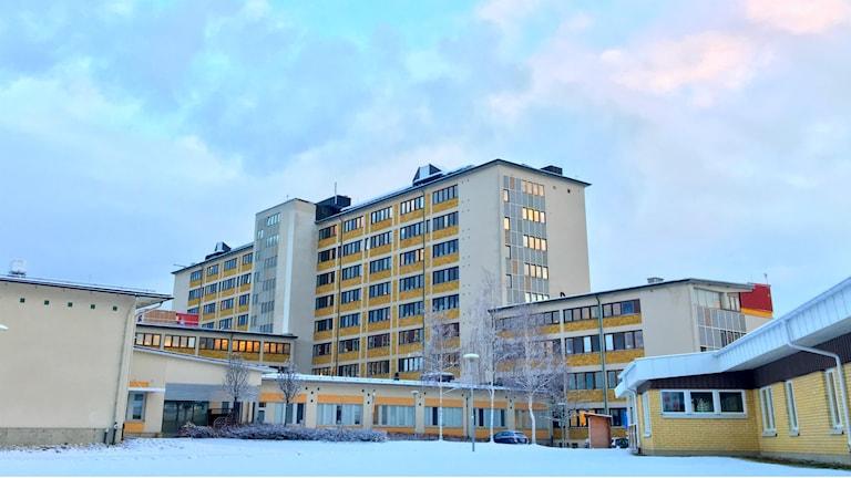 Sollefteå sjukhus med snö runt omkring och vintersolen som blänker i fönstren.