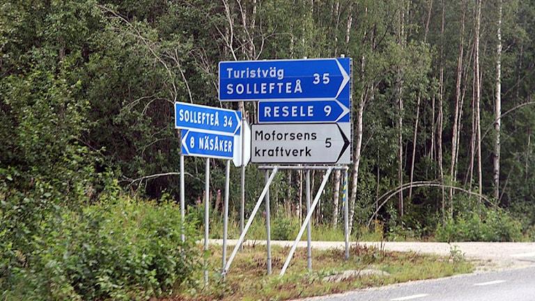 Skyltar vid turistvägen mellan Sollefteå och Näsåker. Foto: Ingrid Engstedt Edfast