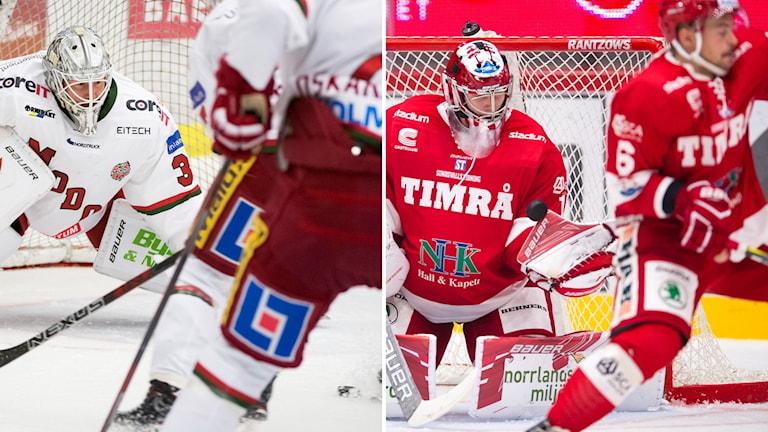 Bildkollage av Modos målvakt Erik Hanses under en match i hockeyallsvenskan och Timrås målvakt Victor Brattström räddar i en match i hockeyallsvenskan.