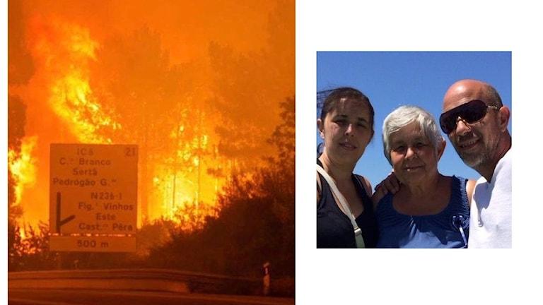 Bildkollage. Bränderna härjar runt Mario Costas hemby. Familjebild. Mario Costa tillsammans med sin mamma Livia och syster Carla.