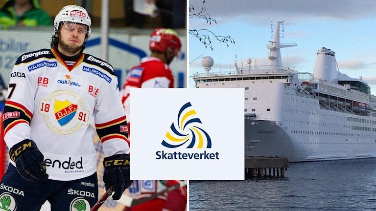Bildkollage: Hockeyspelaren Andreas Holmqvist och fartyget Ocean Gala med Skatteverkets logotyp i mitten. Foto: Jens L Éstrade/TT och Ingrid Engstedt Edfast/Sveriges Radio