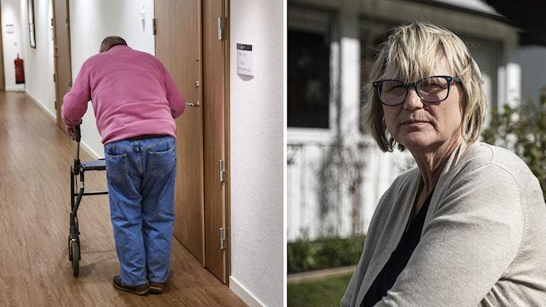 Äldre promenerar med rullator genom ett äldreboende och Eva Laggren anställd på Strandbo i Söråker. Fotograf Pontus Lundahl/TT och Emil Hammarström Sveriges Radio.