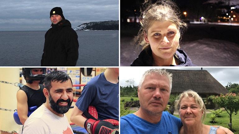 Bildkollage med de fyra nominerade till Årets Västernorrlänning 2017. Martin Hanell (överst till vä), Camilla Löfdahl (överst till hö), Erfan Kakahani (längst ner vä), Christer och Karin Solgevik (längst ner hö). Kollage: Sveriges Radio