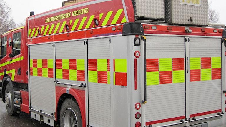 Brandbil från Räddningstjänsten i Medelpad. Foto: Ann-Charlotte Carlsson/Sveriges Radio