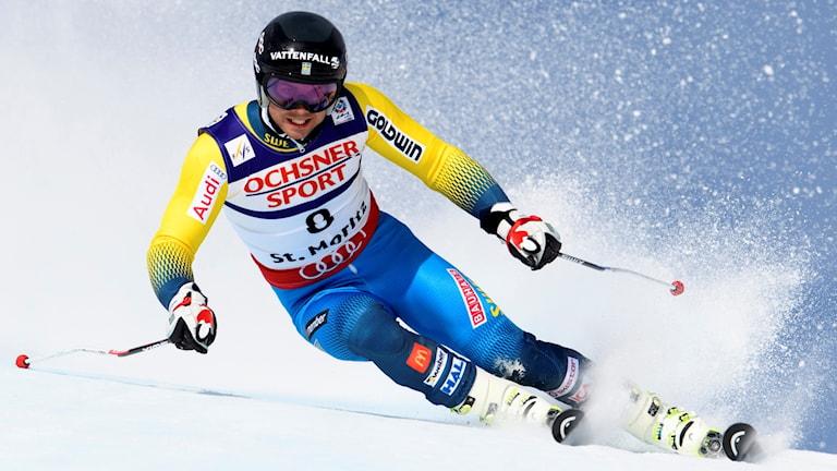 Matts Olsson i första åket i storslalom i St. Moritz 17 februari 2017.