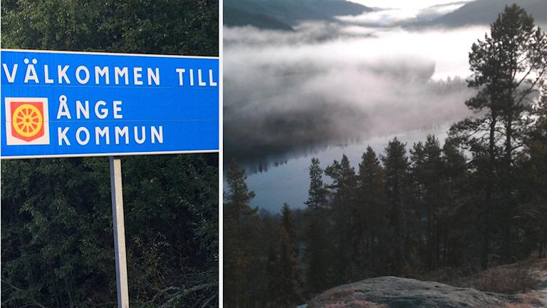 En skylt med texten Välkommen till Ånger kommun och en vy över den dimhöljda Indalsälven.