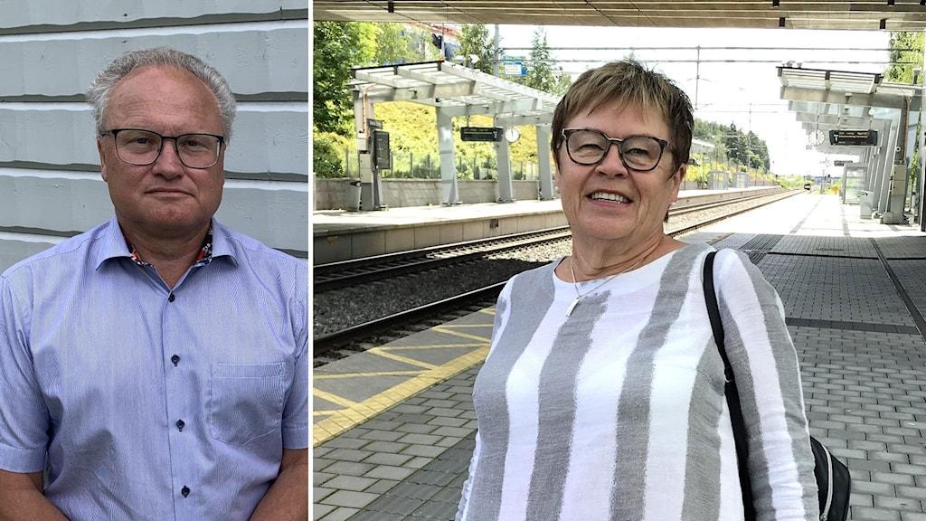 Bildkollage. Till vänster. Glenn Nordlund (S). Till höger: Elvy Söderström står på en tom perrong i Örnsköldsvik. Foto: Hampus Svensson och Peter Öberg/Sveriges Radio
