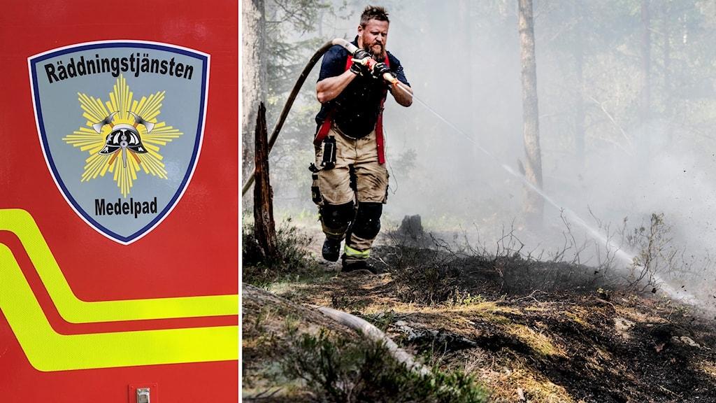 Bildkollage. Till vänster: En närbild på emblemet för Räddningstjänsten i Medelpad på ett av Räddningstjänstens baracker. Till höger: Brandman släcker en markbrand.