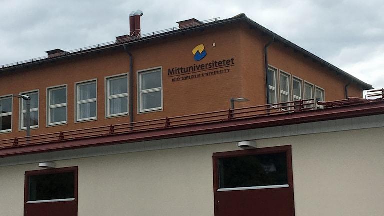 Halvdålig bild på logo för Mittuniversitetet i Sundsvall. Foto: Simon Nilsson/Sveriges Radio.
