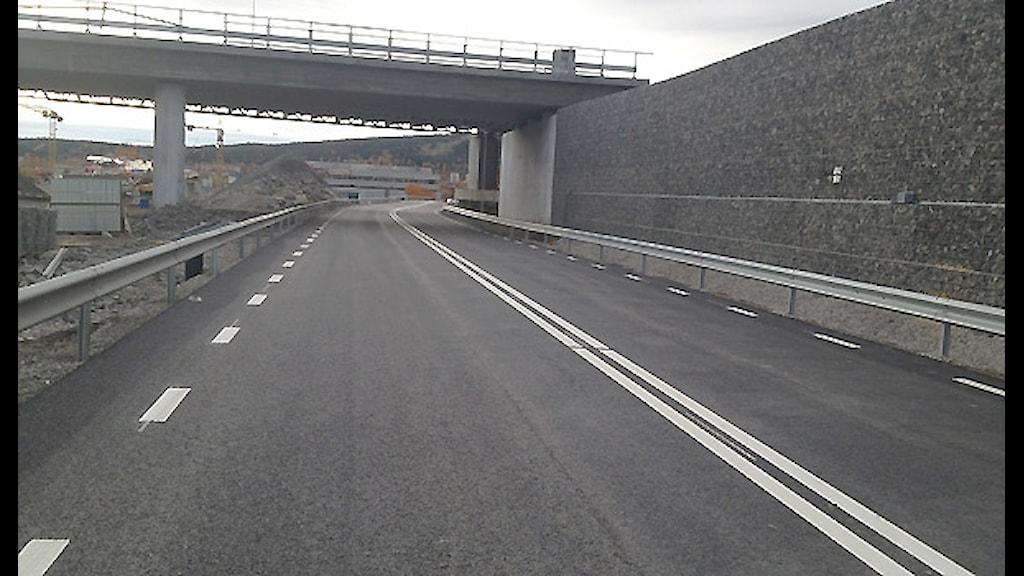 Nya nedsänkta E4 i Skönsberg. Foto: Trafikverket