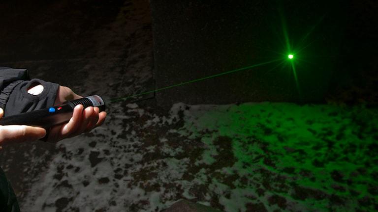 Laserpekare Grön laser. Foto: Terje Bendiksby/TT