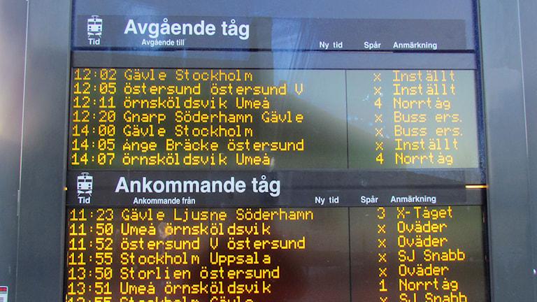 Förseningar i tågtrafiken. Foto: Fredrik Gavelin/SR