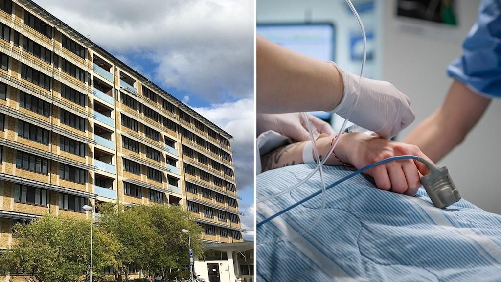 Sollefteå sjukhus och en patient får vård på ett sjukhus