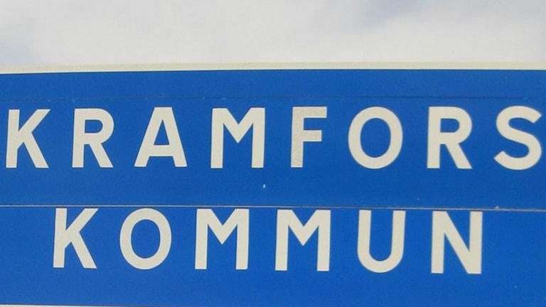 Skylt Kramfors kommun. Foto: Ulla Öhman