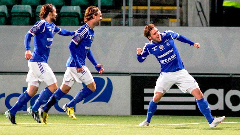 GIf Sundsvall jublar efter seger över Syrianska med 3-1. Foto: Mats Andersson / TT /