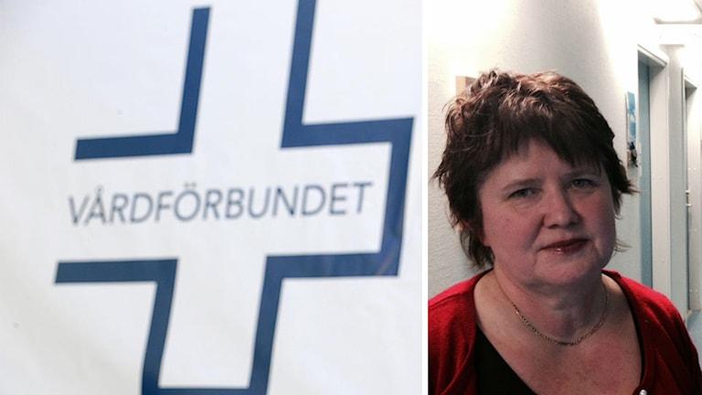 Bildkollage. Vårdförbundets logotyp och Åsa Holgersson