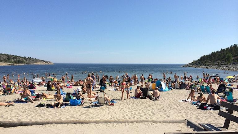 Smitingens havsbad i Härnösand har haft en rekordsommar liksom de flesta andra bad i Sverige. Men det varma vattnet har också inneburit fler drunkningsolyckor. Foto Ulla Öhman