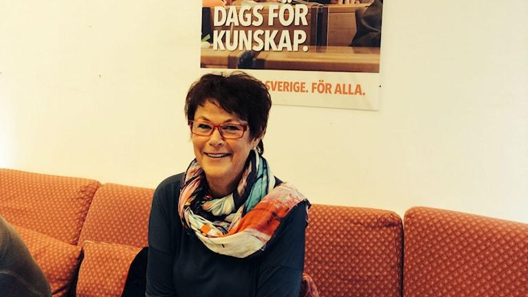 Maud Byquist (S) från årets valrörelse där hon särskilt diskuterade skolfrågor. Arkivfoto Ulla Öhman