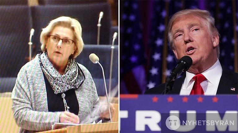 Bildkollage med Lena Asplund (M), riksdagsledamot från Sollefteå och Donald Trump som idag segrade i presidentvalet i USA. Foto: Sveriges Radio och Chip Somodevilla/AFP/TT
