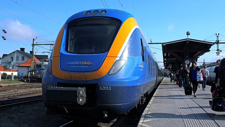 Tåg på Sundsvalls järnvägsstation.