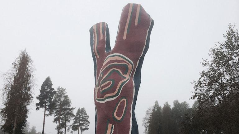 Y:et (1995) av konstnären Bengt Lindström vid Midlanda. Foto: Christer Jonasson/SR