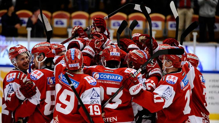Spelare i Timrå IK omfamnar varandra. Foto: Robin Nordlund / TT