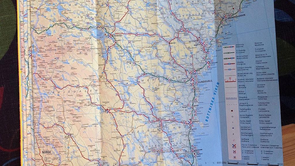 Karta över Västernorrland. Foto: Ulla Öhman/SR
