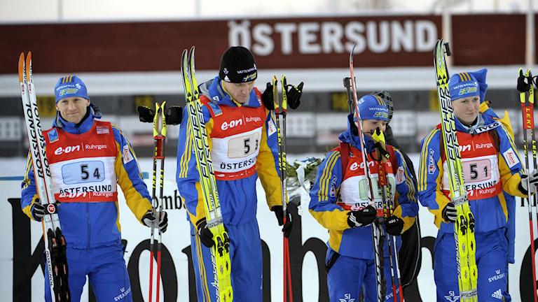 Skidskytte-VM 2008 kom Carl Johan Bergman, Björn Ferry, Anna Carin Olofsson och Helena Jonsson på fjärde plats i mixstafetten. Foto: Janerik Henriksson/TT