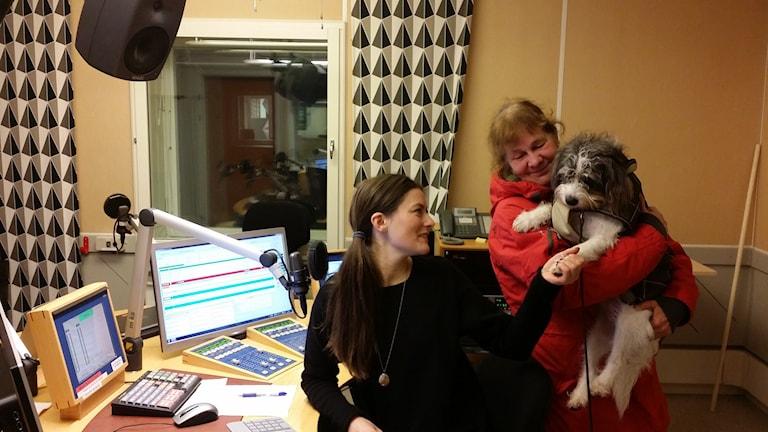Hunden Rut och Matte Mia hälsar på hos P4 Morgon. Foto: Erik Nyberg/SR