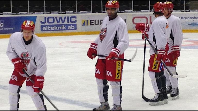 NHL-ikonen Donald Brashear för första gången på isen tillsammans med Modo. Foto: Viktor Åsberg/SR