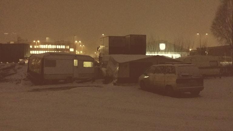 Husvagnar där EU-migranterna bor.