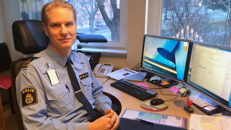 Josef Wiklund, enhetschef brottsförebyggandeenheten på Polisen i Västernorrland. Foto: Annelie Ledin/SR