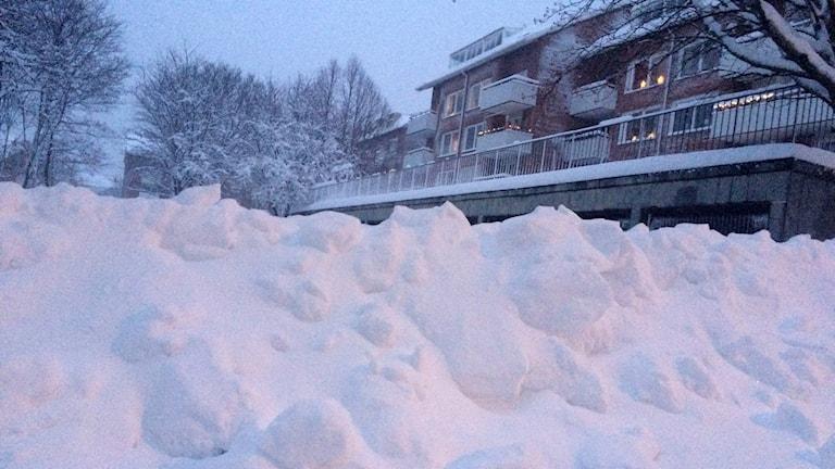 Snö i Härnösand.