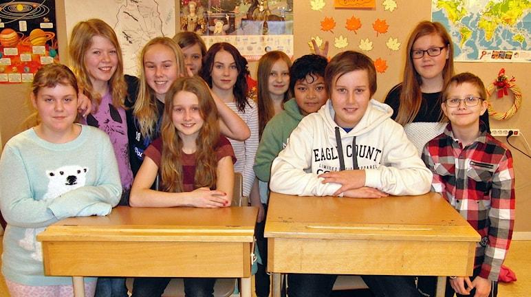 Hela klass 5 vid Husumskolan som ska tävla i Vi i femman Västernorrland 2015.