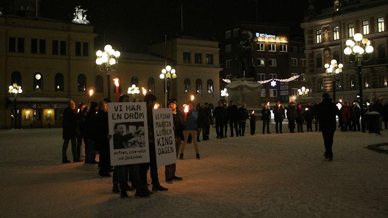 Manifestation mot rasism i Sundsvall. Foto: Elvira Linderot/SR