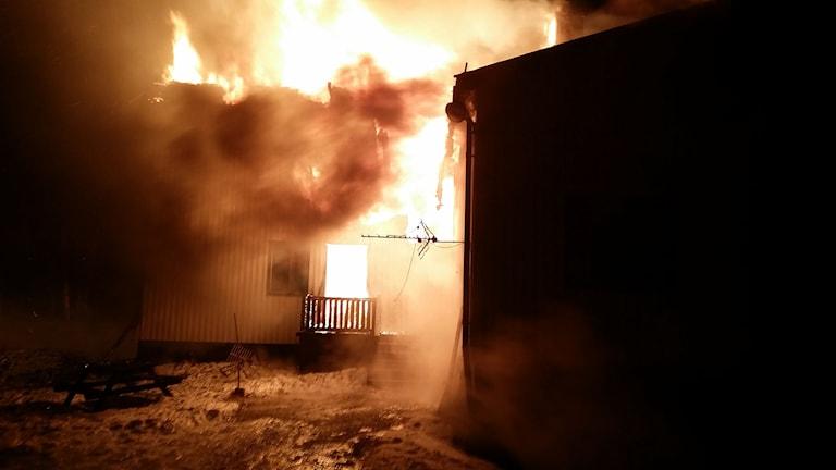 Branden fick ett mycket hastigt förlopp. Foto: Räddningstjänsten i Kramfors