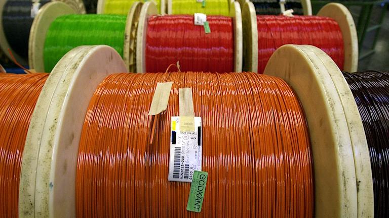Fiberoptik kabel stora rullar färdiga för leverans. Foto: Gunnar Lundmark/TT